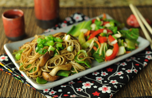 Japanese Soba Noodles with Garlic and Mushrooms KW