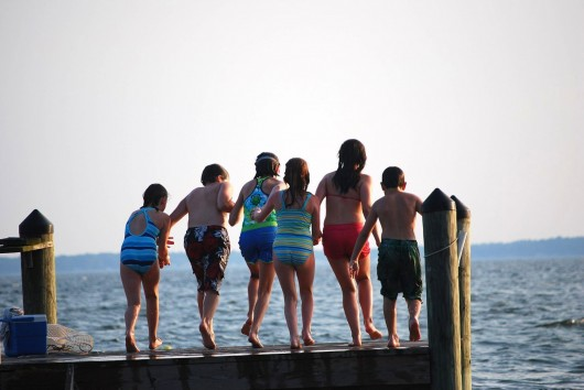 kids on dock